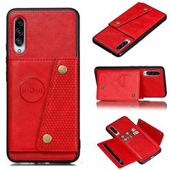 Retro Multifunction Card Slots Stand Leather Coated Phone Back Cover for Samsung Galaxy A90 5G - Red