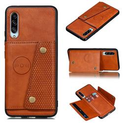 Retro Multifunction Card Slots Stand Leather Coated Phone Back Cover for Samsung Galaxy A90 5G - Brown