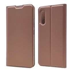 Ultra Slim Card Magnetic Automatic Suction Leather Wallet Case for Samsung Galaxy A90 5G - Rose Gold