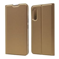 Ultra Slim Card Magnetic Automatic Suction Leather Wallet Case for Samsung Galaxy A90 5G - Champagne