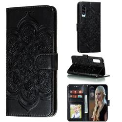 Intricate Embossing Datura Solar Leather Wallet Case for Samsung Galaxy A90 5G - Black