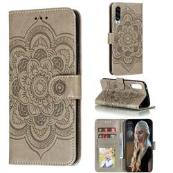 Intricate Embossing Datura Solar Leather Wallet Case for Samsung Galaxy A90 5G - Gray