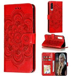Intricate Embossing Datura Solar Leather Wallet Case for Samsung Galaxy A90 5G - Red