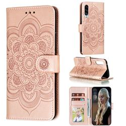 Intricate Embossing Datura Solar Leather Wallet Case for Samsung Galaxy A90 5G - Rose Gold