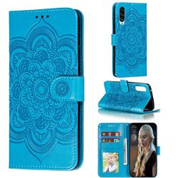 Intricate Embossing Datura Solar Leather Wallet Case for Samsung Galaxy A90 5G - Blue