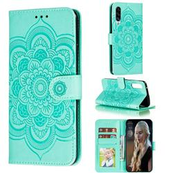 Intricate Embossing Datura Solar Leather Wallet Case for Samsung Galaxy A90 5G - Green