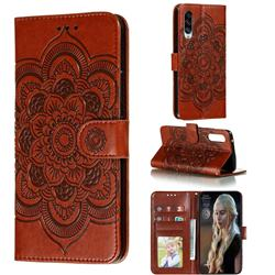 Intricate Embossing Datura Solar Leather Wallet Case for Samsung Galaxy A90 5G - Brown