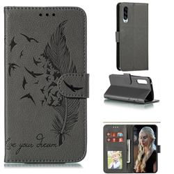 Intricate Embossing Lychee Feather Bird Leather Wallet Case for Samsung Galaxy A90 5G - Gray