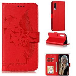 Intricate Embossing Lychee Feather Bird Leather Wallet Case for Samsung Galaxy A90 5G - Red