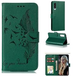 Intricate Embossing Lychee Feather Bird Leather Wallet Case for Samsung Galaxy A90 5G - Green