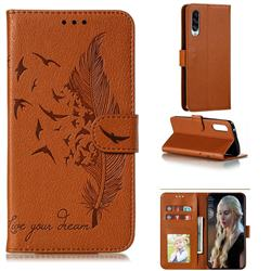 Intricate Embossing Lychee Feather Bird Leather Wallet Case for Samsung Galaxy A90 5G - Brown