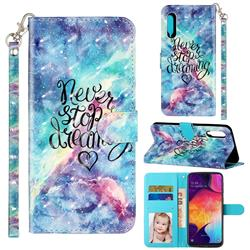 Blue Starry Sky 3D Leather Phone Holster Wallet Case for Samsung Galaxy A90 5G