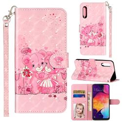 Pink Bear 3D Leather Phone Holster Wallet Case for Samsung Galaxy A90 5G