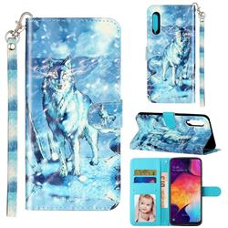 Snow Wolf 3D Leather Phone Holster Wallet Case for Samsung Galaxy A90 5G