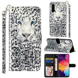 White Leopard 3D Leather Phone Holster Wallet Case for Samsung Galaxy A90 5G