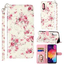 Rambler Rose Flower 3D Leather Phone Holster Wallet Case for Samsung Galaxy A90 5G