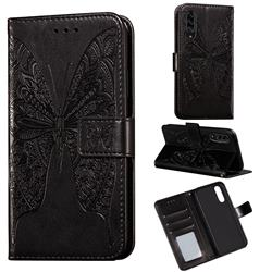 Intricate Embossing Vivid Butterfly Leather Wallet Case for Samsung Galaxy A90 5G - Black