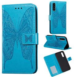Intricate Embossing Vivid Butterfly Leather Wallet Case for Samsung Galaxy A90 5G - Blue