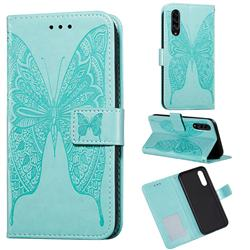 Intricate Embossing Vivid Butterfly Leather Wallet Case for Samsung Galaxy A90 5G - Green