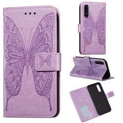 Intricate Embossing Vivid Butterfly Leather Wallet Case for Samsung Galaxy A90 5G - Purple
