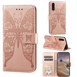Intricate Embossing Rose Flower Butterfly Leather Wallet Case for Samsung Galaxy A90 5G - Rose Gold