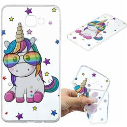 Glasses Unicorn Clear Varnish Soft Phone Back Cover for Samsung Galaxy A9 (2018) / A9 Star Pro / A9s