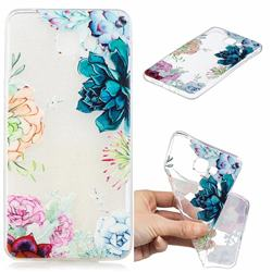 Gem Flower Clear Varnish Soft Phone Back Cover for Samsung Galaxy A9 (2018) / A9 Star Pro / A9s