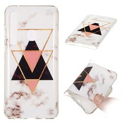Inverted Triangle Black Soft TPU Marble Pattern Phone Case for Samsung Galaxy A9 (2018) / A9 Star Pro / A9s