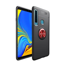 Auto Focus Invisible Ring Holder Soft Phone Case for Samsung Galaxy A9 (2018) / A9 Star Pro / A9s - Black Red