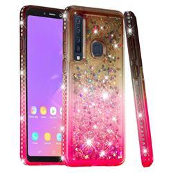 Diamond Frame Liquid Glitter Quicksand Sequins Phone Case for Samsung Galaxy A9 (2018) / A9 Star Pro / A9s - Gray Pink