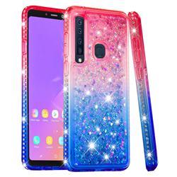 Diamond Frame Liquid Glitter Quicksand Sequins Phone Case for Samsung Galaxy A9 (2018) / A9 Star Pro / A9s - Pink Blue