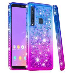 Diamond Frame Liquid Glitter Quicksand Sequins Phone Case for Samsung Galaxy A9 (2018) / A9 Star Pro / A9s - Blue Purple