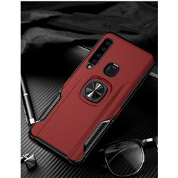 Knight Armor Anti Drop PC + Silicone Invisible Ring Holder Phone Cover for Samsung Galaxy A9 (2018) / A9 Star Pro / A9s - Red