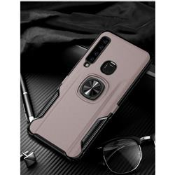 Knight Armor Anti Drop PC + Silicone Invisible Ring Holder Phone Cover for Samsung Galaxy A9 (2018) / A9 Star Pro / A9s - Rose Gold