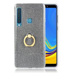 Luxury Soft TPU Glitter Back Ring Cover with 360 Rotate Finger Holder Buckle for Samsung Galaxy A9 (2018) / A9 Star Pro / A9s - Black