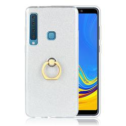 Luxury Soft TPU Glitter Back Ring Cover with 360 Rotate Finger Holder Buckle for Samsung Galaxy A9 (2018) / A9 Star Pro / A9s - White