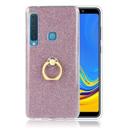Luxury Soft TPU Glitter Back Ring Cover with 360 Rotate Finger Holder Buckle for Samsung Galaxy A9 (2018) / A9 Star Pro / A9s - Pink