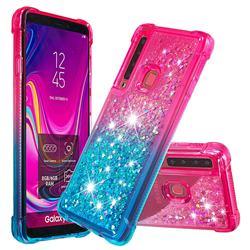 Rainbow Gradient Liquid Glitter Quicksand Sequins Phone Case for Samsung Galaxy A9 (2018) / A9 Star Pro / A9s - Pink Blue