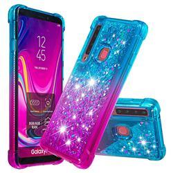 Rainbow Gradient Liquid Glitter Quicksand Sequins Phone Case for Samsung Galaxy A9 (2018) / A9 Star Pro / A9s - Blue Purple