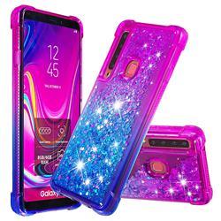Rainbow Gradient Liquid Glitter Quicksand Sequins Phone Case for Samsung Galaxy A9 (2018) / A9 Star Pro / A9s - Purple Blue