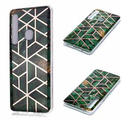 Green Rhombus Galvanized Rose Gold Marble Phone Back Cover for Samsung Galaxy A9 (2018) / A9 Star Pro / A9s