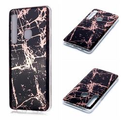 Black Galvanized Rose Gold Marble Phone Back Cover for Samsung Galaxy A9 (2018) / A9 Star Pro / A9s