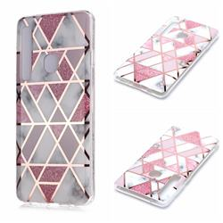 Pink Rhombus Galvanized Rose Gold Marble Phone Back Cover for Samsung Galaxy A9 (2018) / A9 Star Pro / A9s