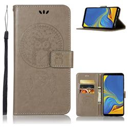 Intricate Embossing Owl Campanula Leather Wallet Case for Samsung Galaxy A9 (2018) / A9 Star Pro / A9s - Grey