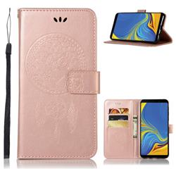 Intricate Embossing Owl Campanula Leather Wallet Case for Samsung Galaxy A9 (2018) / A9 Star Pro / A9s - Rose Gold