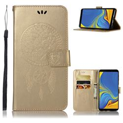 Intricate Embossing Owl Campanula Leather Wallet Case for Samsung Galaxy A9 (2018) / A9 Star Pro / A9s - Champagne
