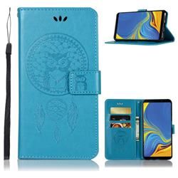 Intricate Embossing Owl Campanula Leather Wallet Case for Samsung Galaxy A9 (2018) / A9 Star Pro / A9s - Blue