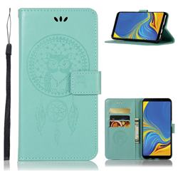 Intricate Embossing Owl Campanula Leather Wallet Case for Samsung Galaxy A9 (2018) / A9 Star Pro / A9s - Green