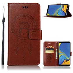 Intricate Embossing Owl Campanula Leather Wallet Case for Samsung Galaxy A9 (2018) / A9 Star Pro / A9s - Brown