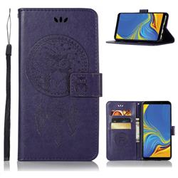 Intricate Embossing Owl Campanula Leather Wallet Case for Samsung Galaxy A9 (2018) / A9 Star Pro / A9s - Purple
